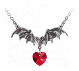 Alchemy Gothic nekketting - Vampire Love Heart - vleermuis met rood hart kristaal