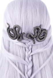 Restyle paar haarclipjes zilveren slangen - Satanische haar sieraden
