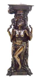 Triple Goddess - Maagd, Moeder, Oudwijf - bronskleurig - theelichthouder - 25 cm hoog