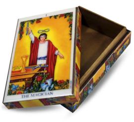 Sieradendoos Tarotdoos gelamineerd hout - Magician Ryder Waite - 15 x 10 x 5.3 cm