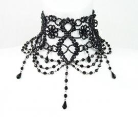 Restyle zwarte Gothic kralen choker Burlesque