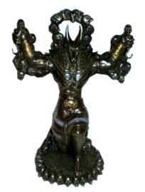 Anubis met weegschaal - Egyptisch beeld - brons - 22 cm hoog