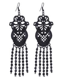 Gothic oorbellen Black Lace - 10 cm lang