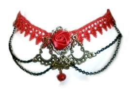 Red Lace with Rose - rode kanten Gothic choker