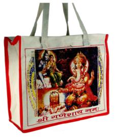 Bollywood Bag Indiase katoenen shopper - Ganesha, Shiva, Parvati - 35 x 40 x cms