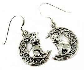 925 zilveren oorbellen Katten op Maan Lisa Parker 3.5 cm lang