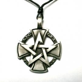 Pewter hanger pentagram kruis