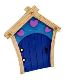 Fee deurtje blauw met roze hartjes - 11 cm hoog