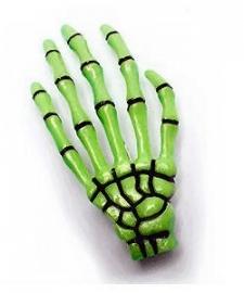 Harajuku skeletale hand haarschuifje neon groen geel