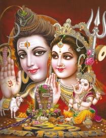 Hindu poster Shiva Parvati Ganesha 2  - 23 x 29 cm