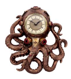 Octoclock - Steampunk Octopus Kraken Horror Wandklok 26 cm hoog