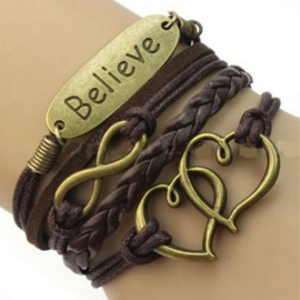 Bruine leren wraparmband infinity harten believe