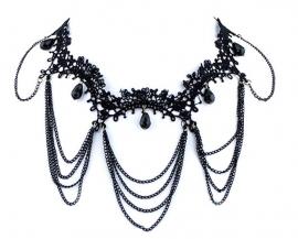 Dark Chains - zwarte Gothic kanten choker
