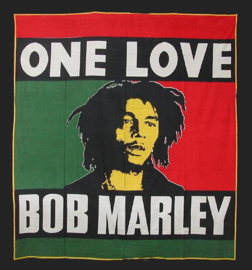 Bedsprei, wandkleed, grand foulard Bob Marley One Love - 210 x 220 cm