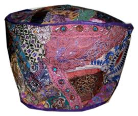 Indiase pouf katoen lapjesdessin paars - 60 x 37 cm