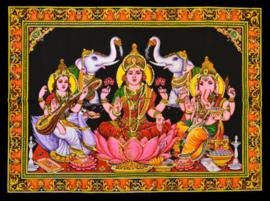 Muurkleed Lakshmi, Saraswati, Ganesha, 2 olifanten - 80 x 110 cm