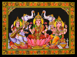 Muurkleed Lakshmi, Saraswati, Ganesha, 2 olifanten - c.a. 80 x 110 cm