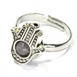 Hamsa ring grijs