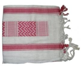Arafatsjaal / Shemagh / Palestijnse sjaal roze wit - zware kwaliteit