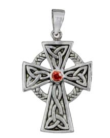 925 Sterling zilveren kettinghanger Keltisch kruis met rood strass steen - 35 x 23 mm
