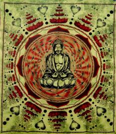Bedsprei / wandkleed Boeddha groen 200 x 220 cm
