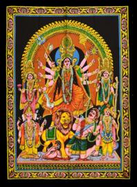 Muurkleed Durga met Ganesha, Leeuw en diverse goden - c.a. 80 x 110 cm