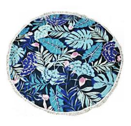 Ronde doek bedsprei tafelkleed vloerkleed beach towel Blauwe Bladeren – 150 cm Ø