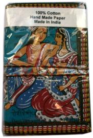 Indiase journaal 8 x 13 cm Krishna en Radha blauw
