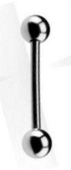 Zilverkleurige rechte staafpiercing