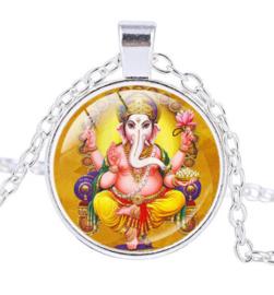 Glazen hanger met ketting Ganesha dessin 8