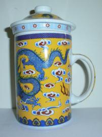Driedelige porseleinen theemok - 14 x 7 cm - Gele Draak
