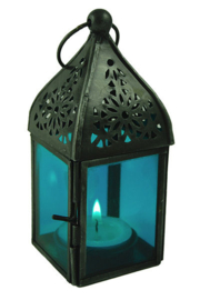 Marokkaanse style glazen lantaren graflicht blauw - 13 cm hoog