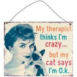 Blikken metalen wandbord  Crazy Cat Lady 2 19 x 24 cm