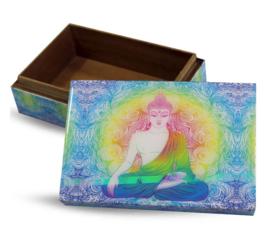 Sieradendoos Tarotdoos gelamineerd hout - Boeddha met aura - 15 x 10 x 5.3 cm