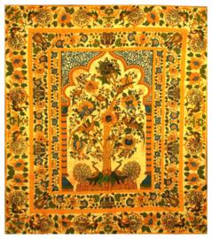 Bedsprei  wandkleed Levensboom Tree of Life oranje goud 200 x 220 cm dessin 3