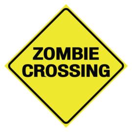Blikken wandbord - diamantvormig - Zombie Crossing - 28 x 28 cm
