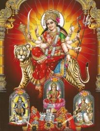 Hindu poster Durga Lakshmi Kali Saraswati - 23 x 29 cm