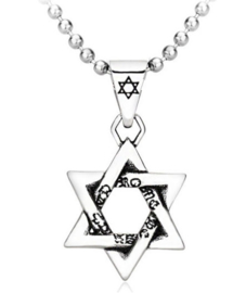 Davidster Joodse ketting 316 titaniumstaal dessin 1 - 4.5 x 2.5 cm