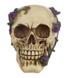 `Rose from beyond` - doodskop met paarse rozen - 13 cm