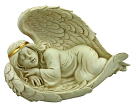 Heavenly Rest - slapende engel beeld - grafdecoratie - 15 x 15 x 25 cm