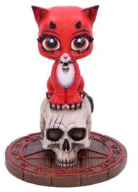 Devil Kitty - Duivel Kat Beeld op Doodskop en Pendelbord met Pentagram - Dessin James Ryman - 16 cm hoog