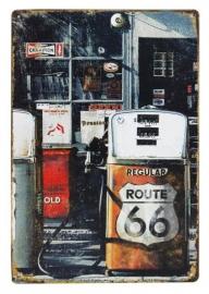 Blikken metalen wandbord Route 66 3 - 20 x 30 cm