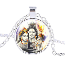 Glazen hanger met ketting Ganesha Shiva Parvati 1