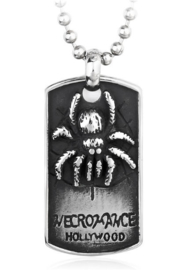 Dogtag ketting met spin en tekst Necromance Hollywood 316 titanium staal - 4 x 2.3 cm