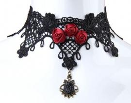 Triple Red Rose - zwarte Gothic kanten choker 9