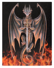 Dragon Warrior Anne Stokes canvas wandbord 25 x 19 cm