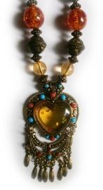 Tibetaanse ketting gouden glitterhart