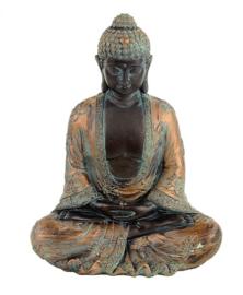 Japanse meditatieboeddha met antieke finish - 19×12×24 cm