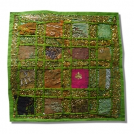 Cushion cover patchwork Indian cotton green