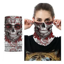 Masker bandana day of the dead doodskop skull dessin roodwit H14